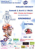 Roller Hockey, Ligue Elite, Championnat de France : Grenoble vs Rethel 02/04/2016